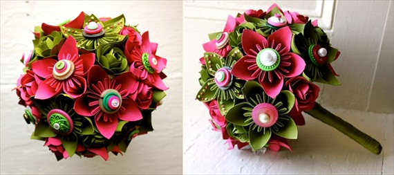 Paper Flower Bouquets (by The Little Red Button) via EmmalineBride.com