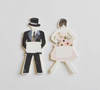 wedding party paper doll placecards