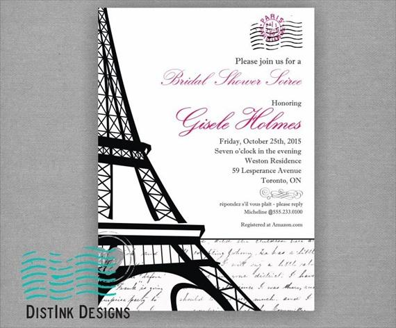 paris bridal shower theme invitation