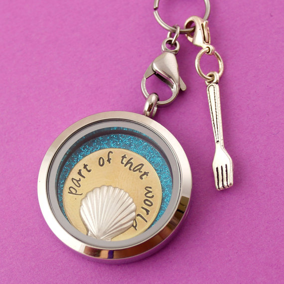 part of your world the little mermaid locket with dinglehopper attached | Offbeat Wedding Theme:  Floating Lockets