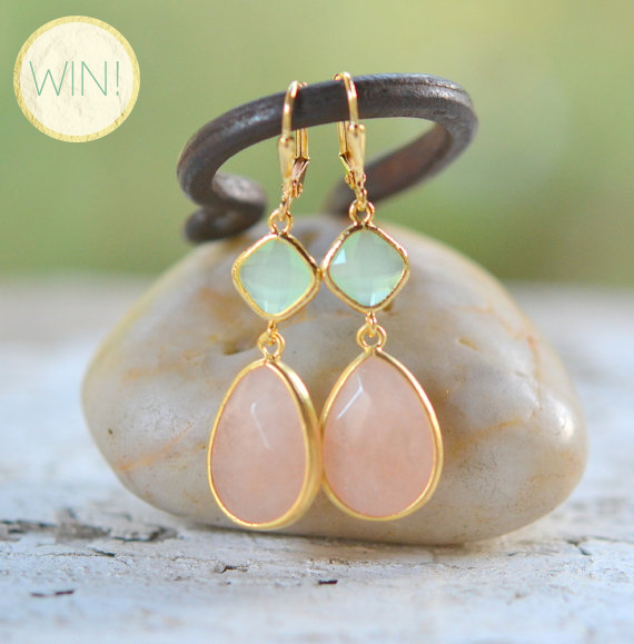 peach and mint earrings rustic gem jewelry