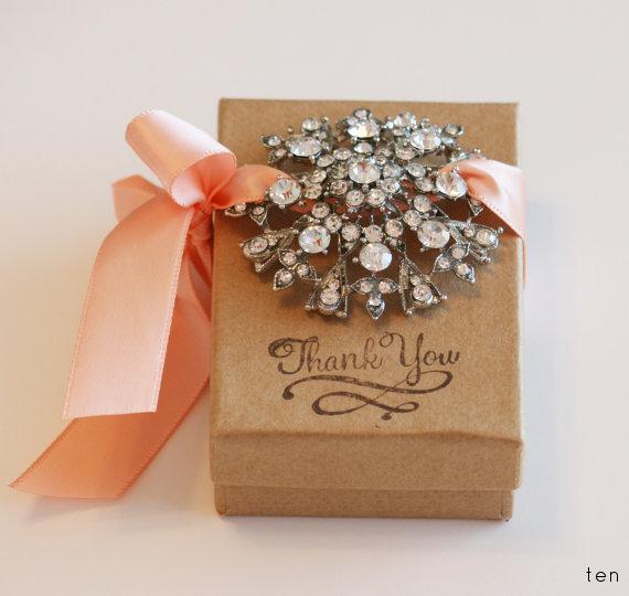 peach brooch wedding favor box