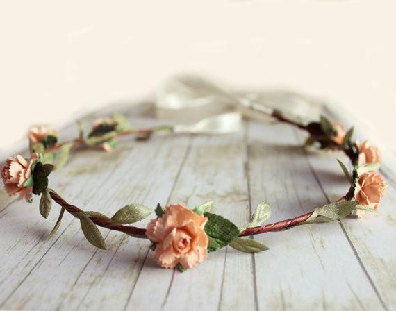 peach peonies - spring wedding crowns | via http://emmalinebride.com/bride/spring-wedding-crowns/