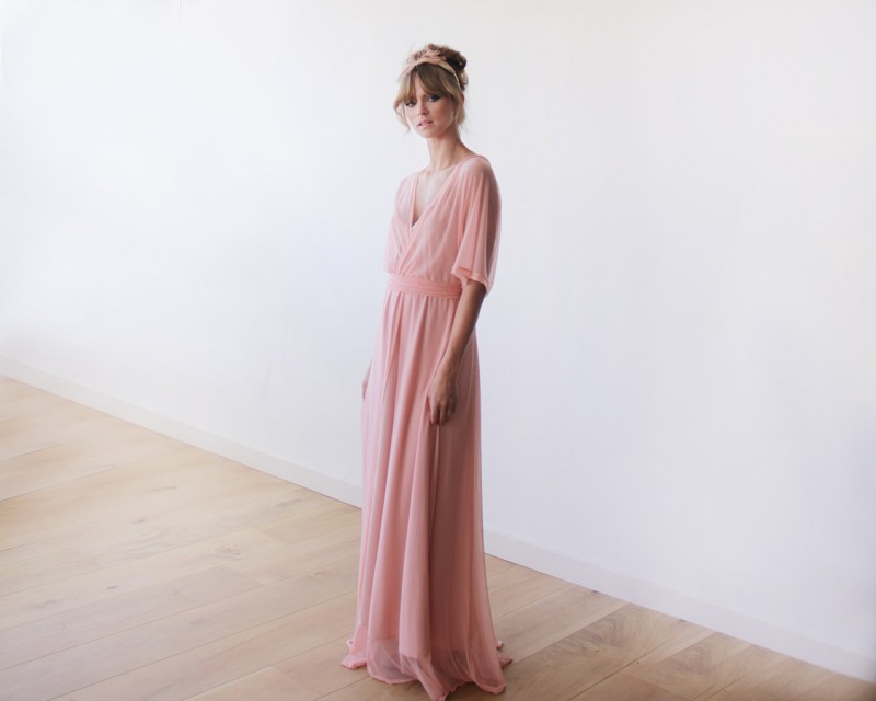 Peach Pink Bridesmaid Maxi Dress | via Bridesmaid Maxi Dresses https://emmalinebride.com/bridesmaids/bridesmaid-maxi-dresses/