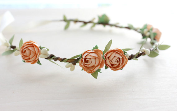 peach rose flower hair crown