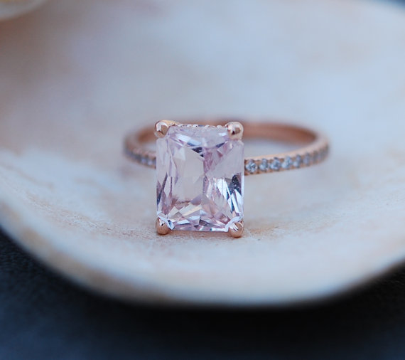peach sapphire engagement ring modeled after blake lively | Engagement Rings Etsy | via http://emmalinebride.com/jewelry/40-best-handmade-rings-ever/‎