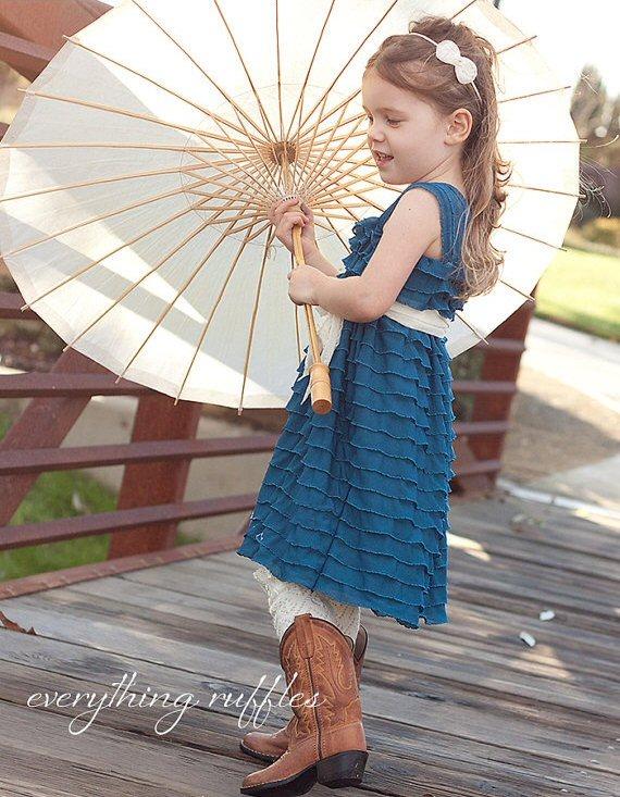 peacock blue ruffle flower girl dress