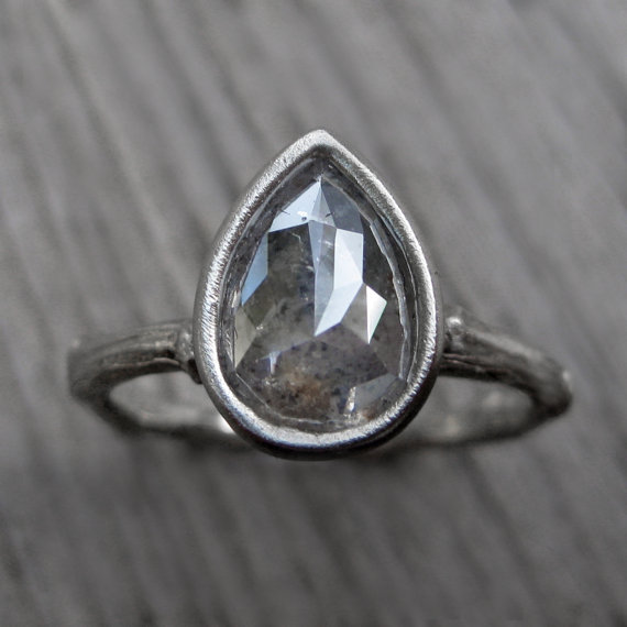pear diamond engagement ring white gold (via 7 Alternative Engagement Ring Ideas)