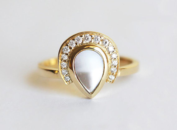 pearl diamond ring | Engagement Rings Etsy | via http://emmalinebride.com/jewelry/40-best-handmade-rings-ever/