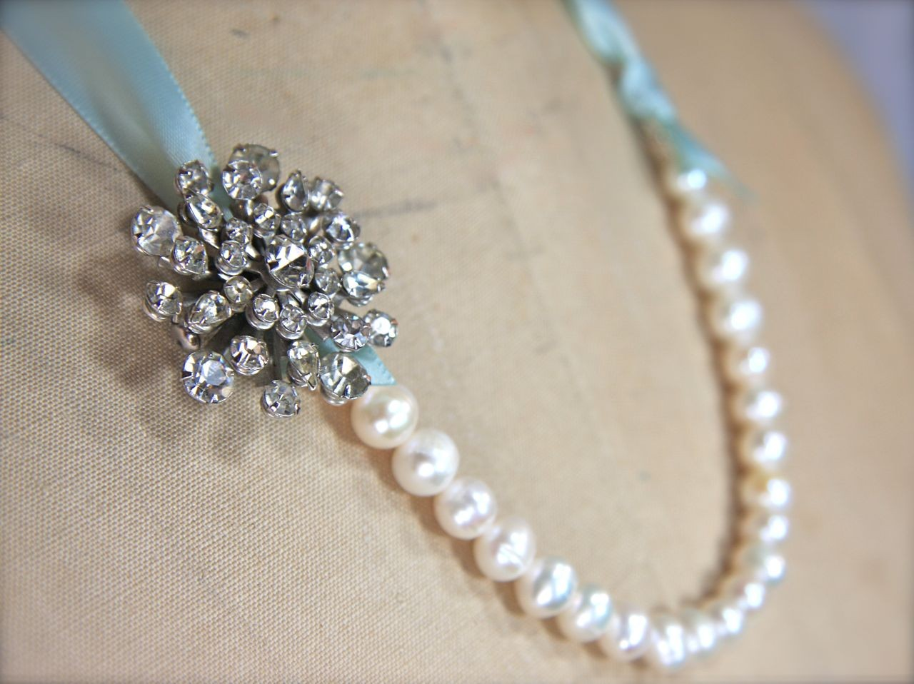 pearl necklace with something blue ribbon