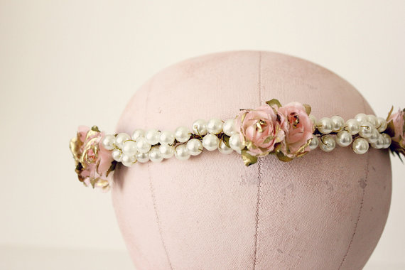 pearls and flower hair crown