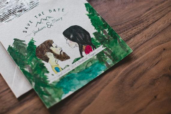 Bespoke Illustrated Wedding Invitation (by Wide Eyes Design via EmmalineBride.com)