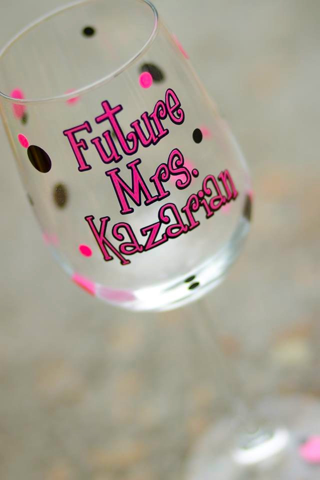 personalized bachelorette wine glass by waterfall designs | fun bachelorette party ideas | http://emmalinebride.com/planning/fun-bachelorette-party-ideas/