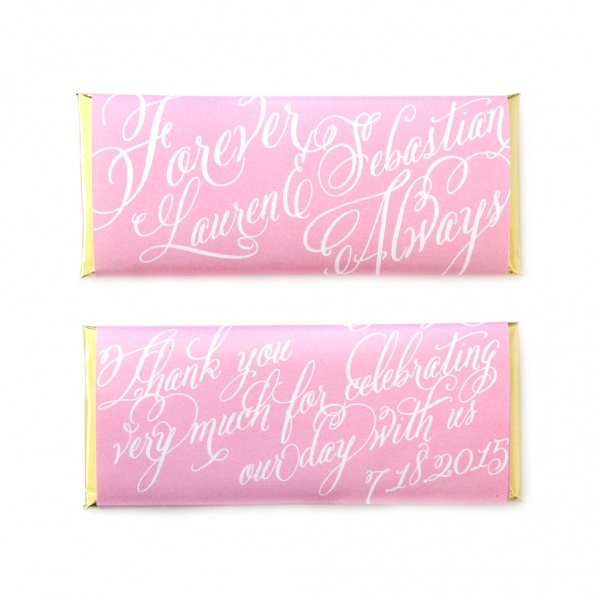 personalized candy wrappers for wedding favors | script pink calligraphy