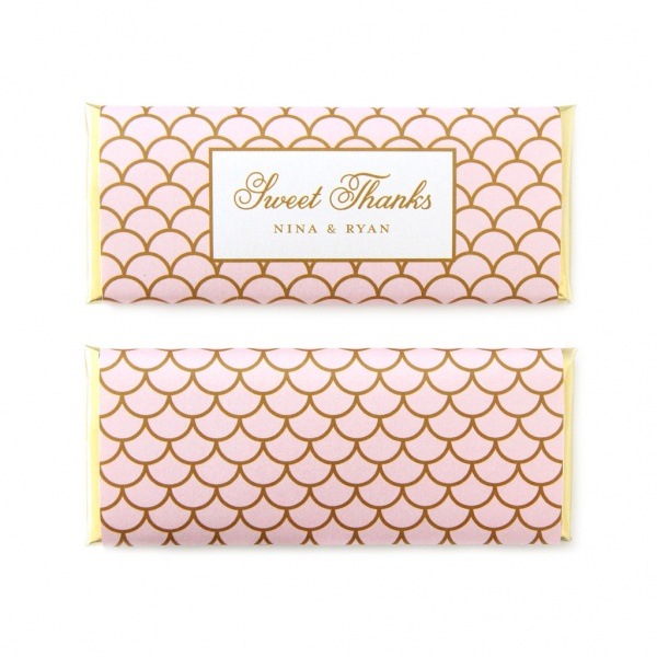 personalized candy wrappers for wedding favors | scallop blush pink gold