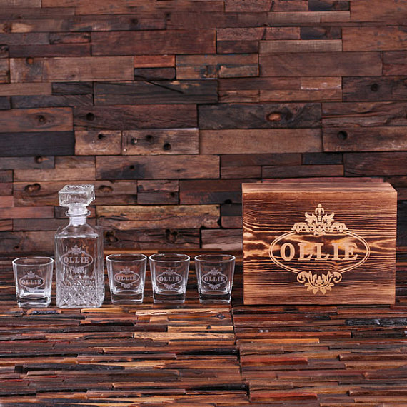 personalized etched whiskey decanter set