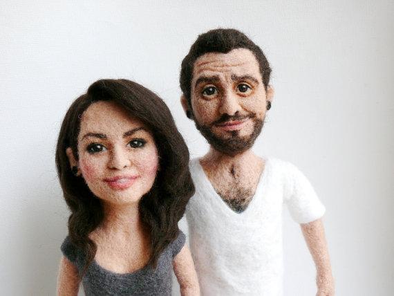Engagement Gift Ideas (by F for Felt) - custom felted dolls #wedding #engagement
