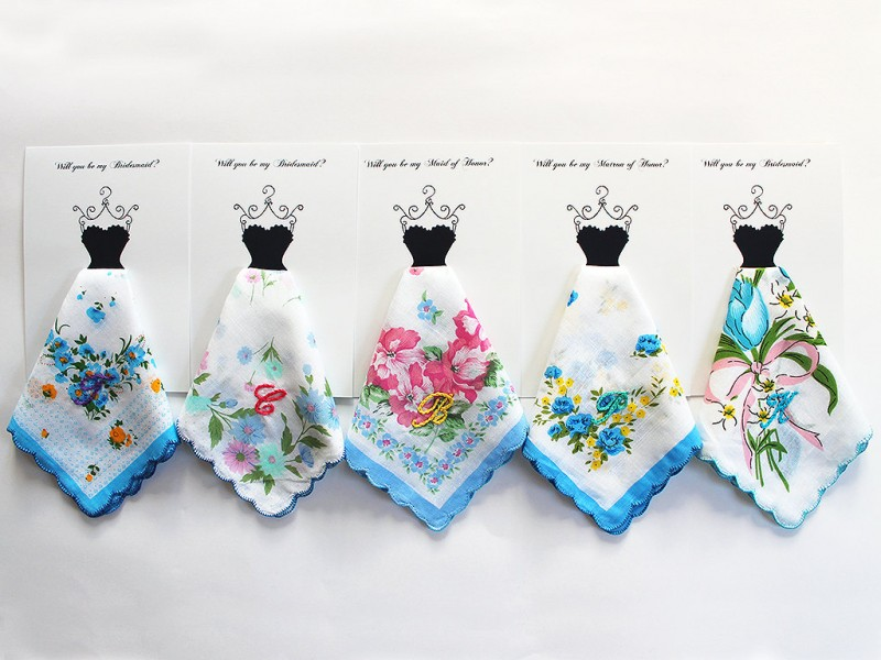 personalized hankies bridesmaids