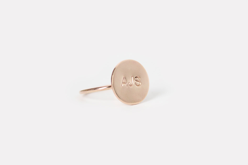 personalized ring for the bride | hand stamped bridal jewelry | by junghwa | https://emmalinebride.com/2015-giveaway/hand-stamped-bridal-jewelry/