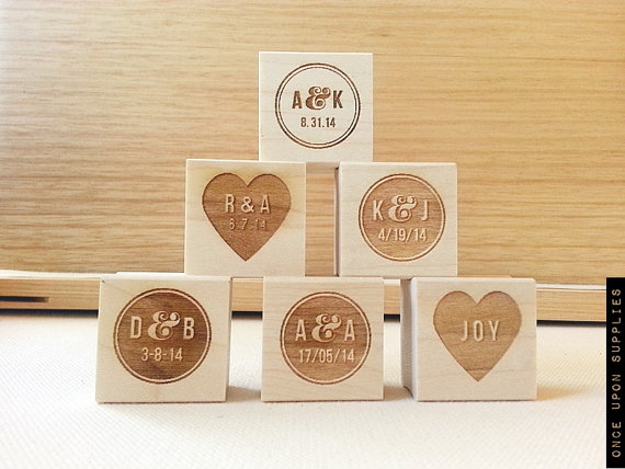 Add your wedding initials to save the date cards, favors, and more with a stamp.