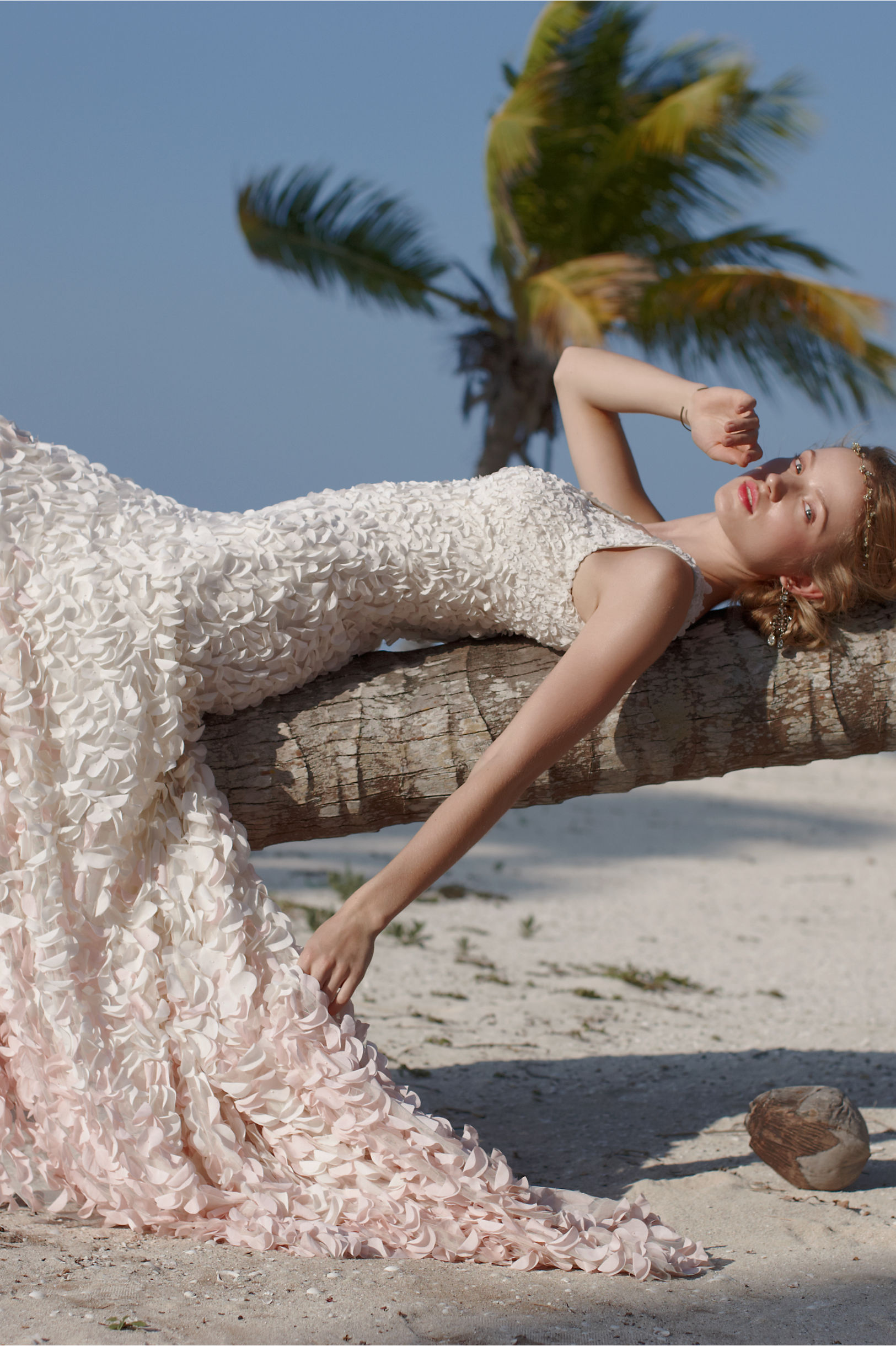 blush petal wedding dress