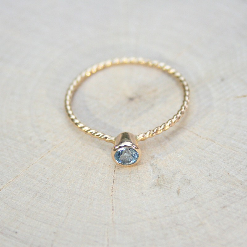 petite blue gemstone ring