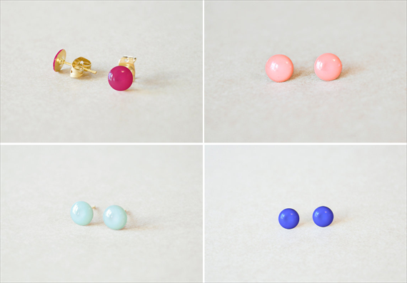 Petite Stud Earrings by The Blooming Thread (via The Marketplace at EmmalineBride.com)