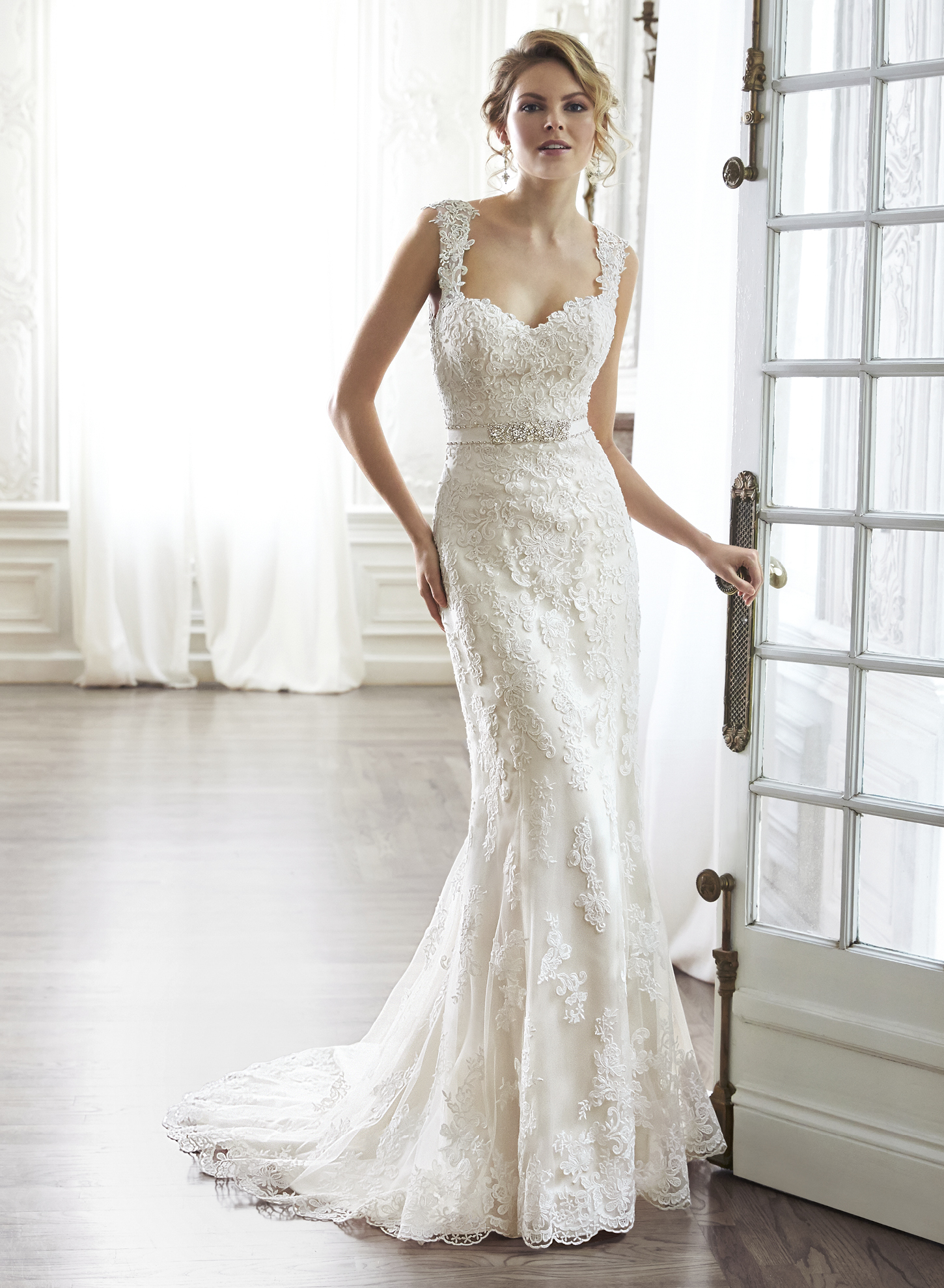 PIA | Sheath Wedding Dresses by Maggie Sottero | via EmmalineBride.com