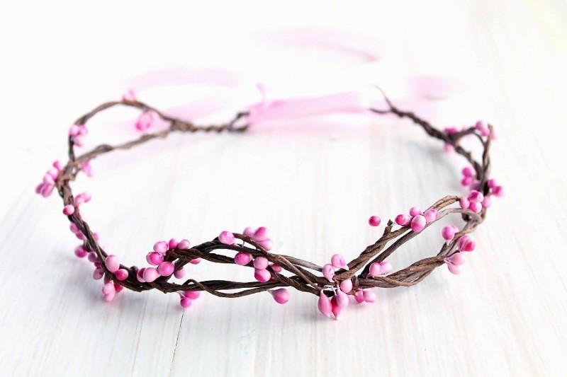 Pink Berries | Flower Girl Hair Crowns | https://emmalinebride.com/flower-girl/hair-crowns/