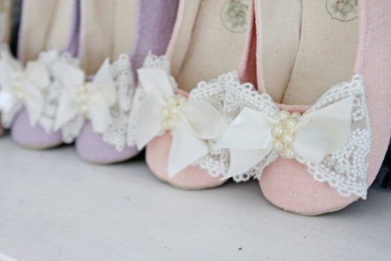 pink flower girl shoes with lace bow | handmade flower girl shoes via http://emmalinebride.com/spring/handmade-flower-girl-shoes/