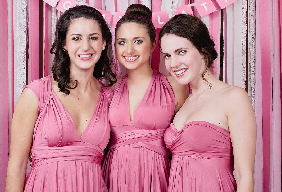 hot pink convertible bridesmaid dress | via http://emmalinebride.com/bridesmaids/bridesmaid-dress-worn-different-ways/