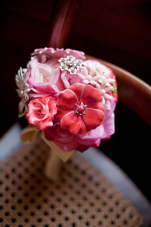 pink silk and brooch bouquet - Wedding Brooch Bouquet Ideas
