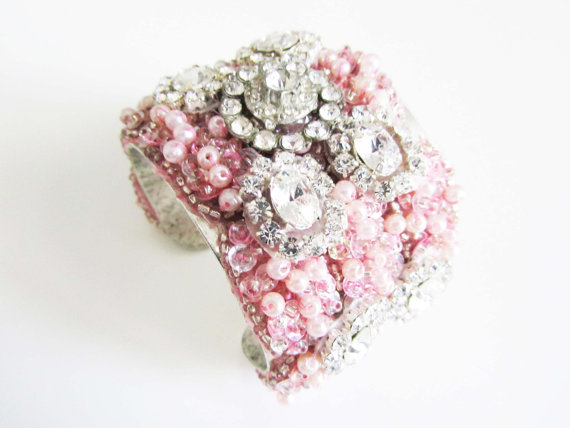 pink cuff bracelets with rhinestones