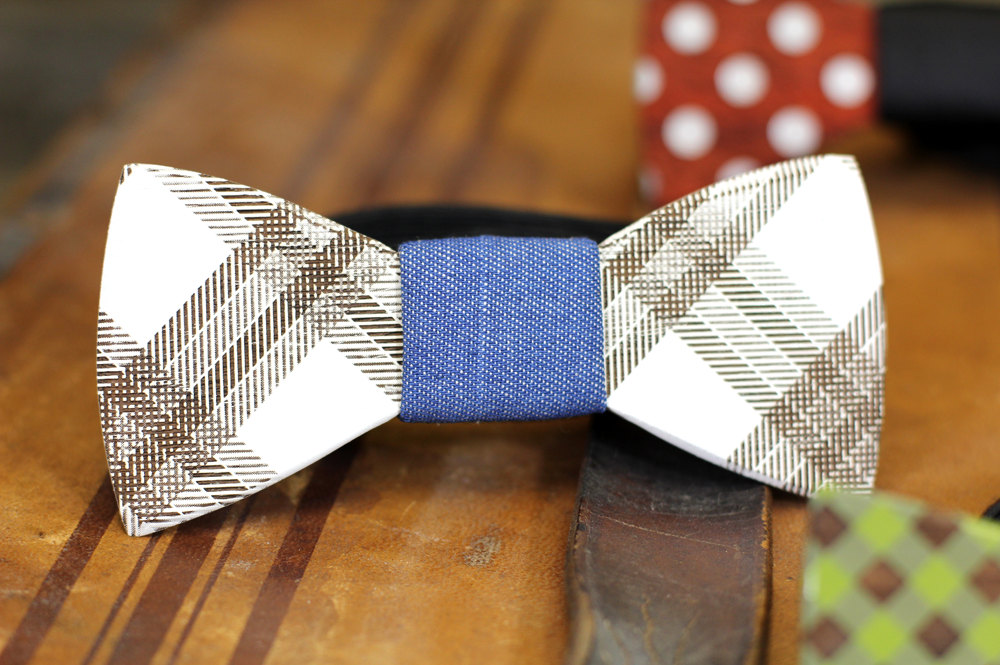 plaid wooden bowtie