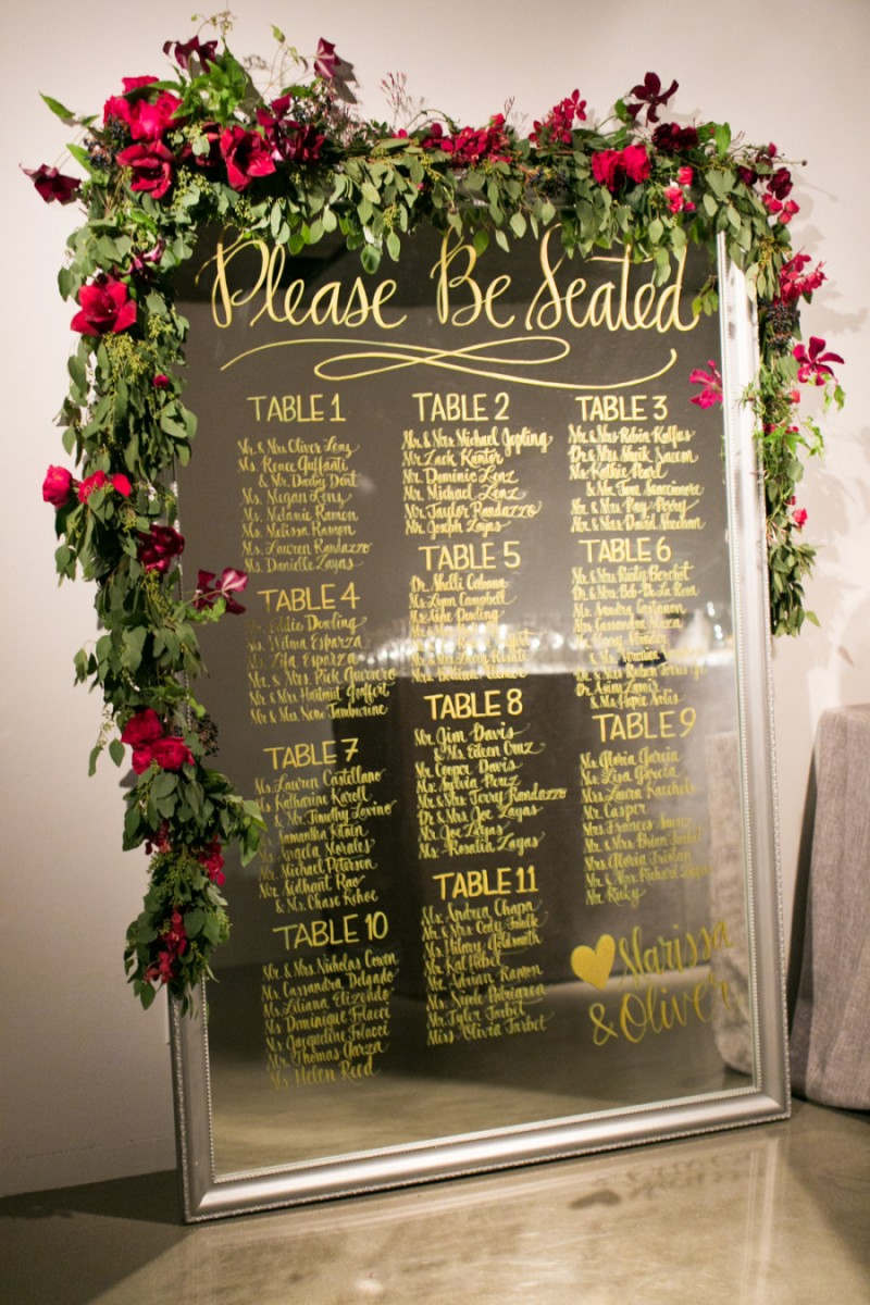Please Be Seated mirror sign | photo: charlie juliet | https://emmalinebride.com/decor/wedding-mirror-signs/
