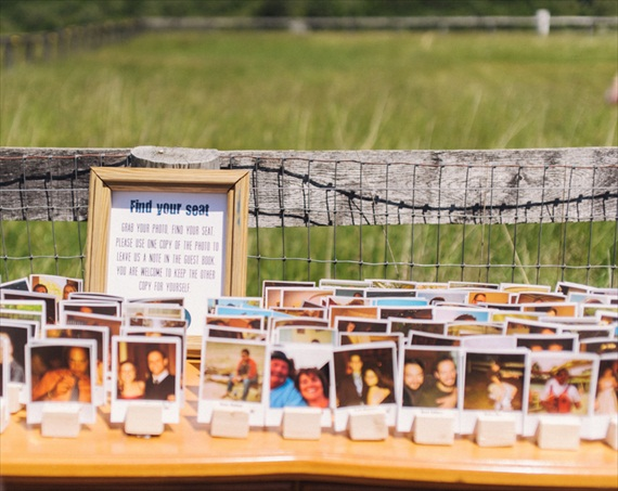 Polaroids at Weddings - polaroid escort card display