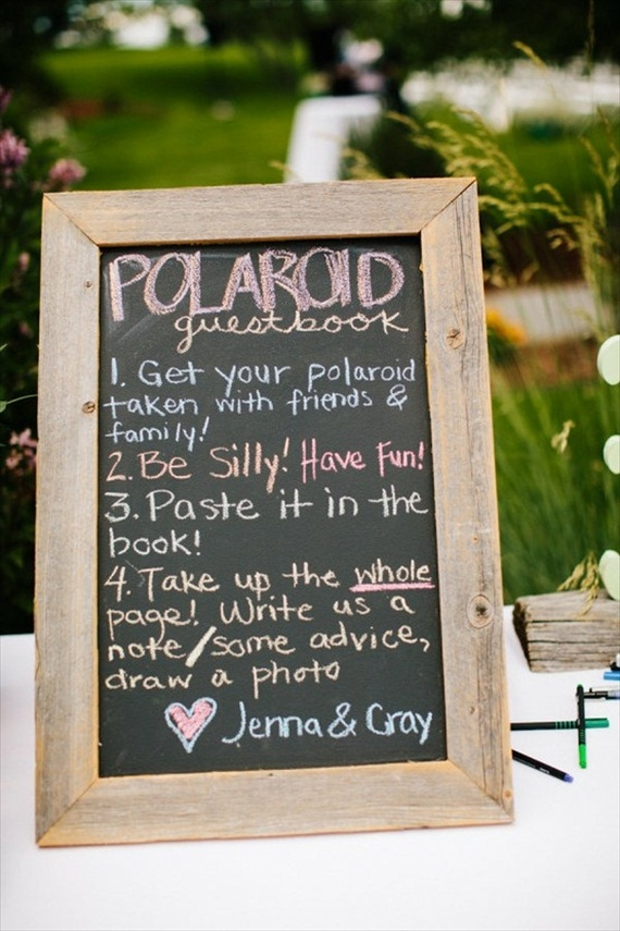 Polaroids at Weddings - polaroid guest book chalkboard sign