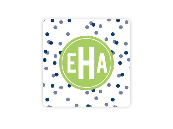 polka dotted monogram wedding coaster
