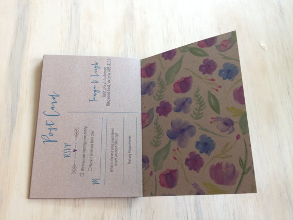 Booklet Wedding Invitation (by The Find Sac) - reply postcard