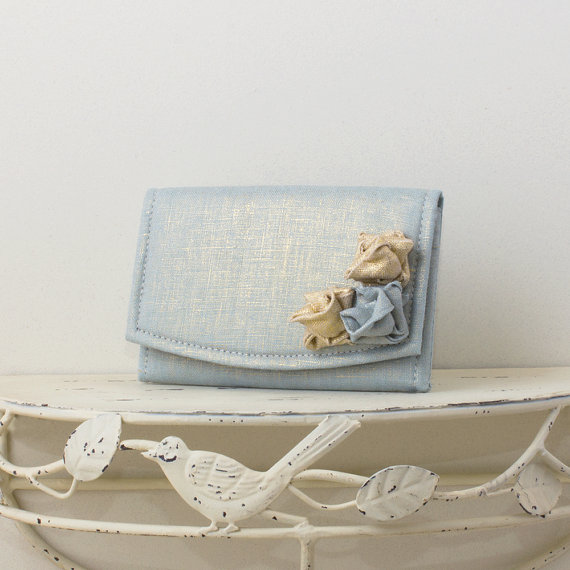 powder blue wedding clutch purse with metallic flower