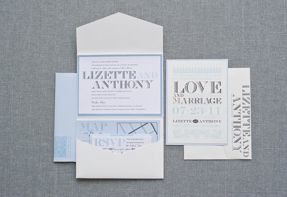 powder blue wedding invitation