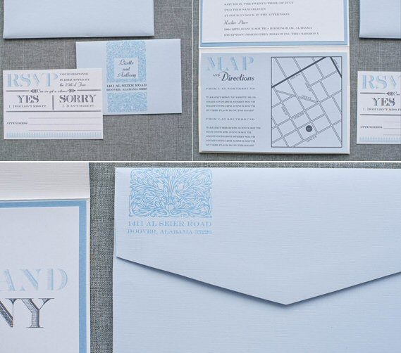 powder blue wedding invitations