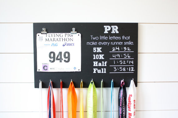 pr chalkboard bib and medal holder