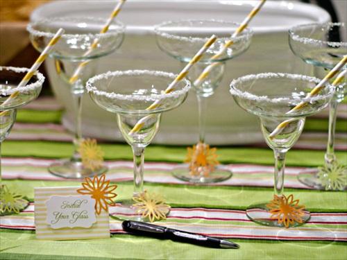 pre-salted rim margarita glasses for margarita bar wedding setup