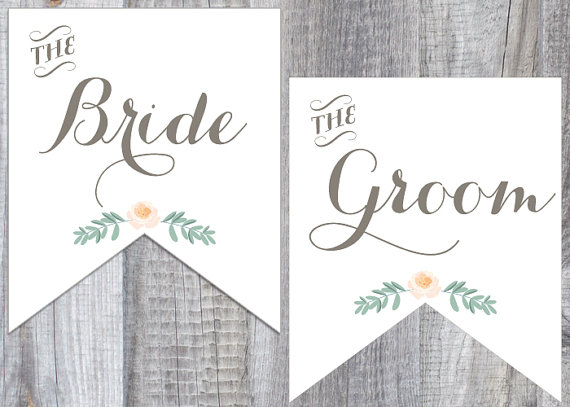 printable bride and groom chair signs - custom wedding printables