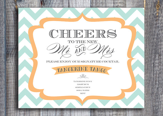 printable signature cocktail sign - custom wedding printables
