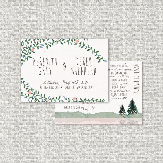 Pine tree wedding programs| by Splash of Silver | http://emmalinebride.com/planning/pine-tree-wedding-invitations/