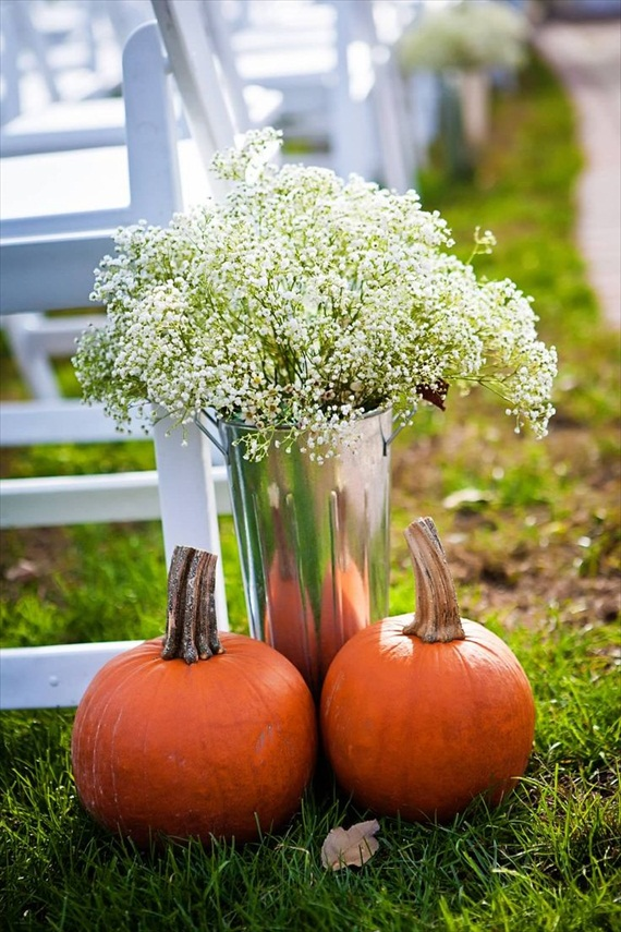 Rustic Fall Ceremony Ideas - pumpkins and baby's breath for the aisle decor (photo by sherry lynne photography)