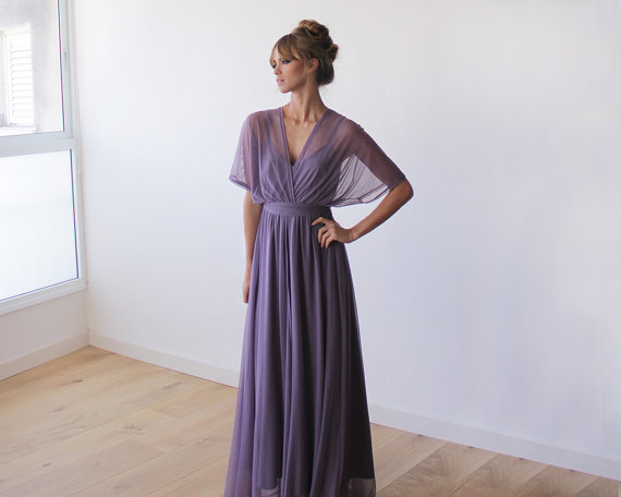 purple bridesmaid maxi dress - left