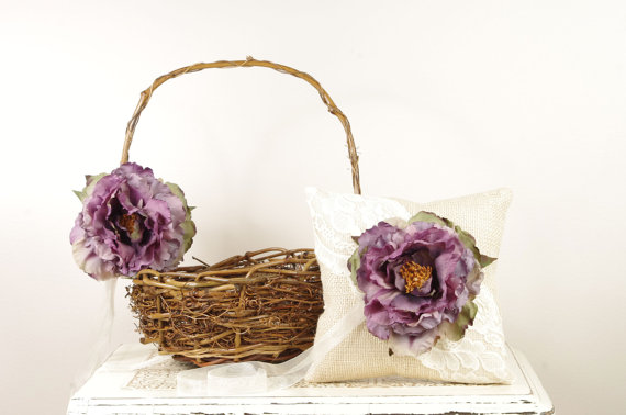 purple burlap ring pillow flower basket
